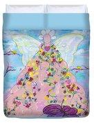 Pink Flower Angel Duvet Cover