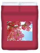 Pink Flowering Dogwood Tree Art Prints Blue Sky Baslee Troutman Duvet Cover