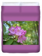 Pink Flowering Rhododendron Bush In Full Bloom Duvet Cover