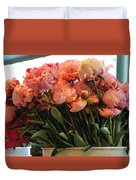 Pink Flowers At The Market Duvet Cover