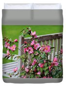 Pink Flowers By The Bench Duvet Cover