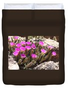 Pink Flowers In The Desert Duvet Cover