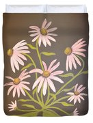 Pink Flowers With Brown Background Duvet Cover