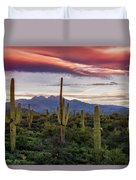 Pink Four Peaks Sunset  Duvet Cover
