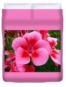 Pink Geranium Blossom Duvet Cover
