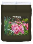 Pink Geraniums Duvet Cover by Lea Novak