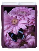 Pink Gerbera Daises And Butterfly Duvet Cover