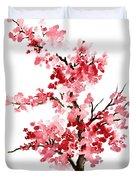 Cherry Blossom, Pink Gifts For Her, Sakura Giclee Fine Art Print, Flower Watercolor Painting Duvet Cover