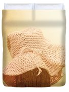 Pink Girls Hat On Farmyard Fence Post Duvet Cover