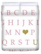 Pink Gold Abc Alphabet Heart Sampler Print Duvet Cover