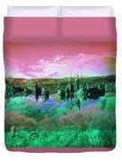 Pink Green Waterscape - Fantasy Artwork Duvet Cover