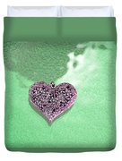 Pink Heart On Frosted Glass Duvet Cover
