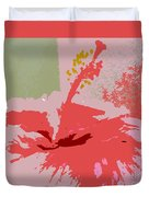 Pink Hibiscus Abstract Duvet Cover