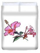 Pink Hibiscus And Geranium  Duvet Cover