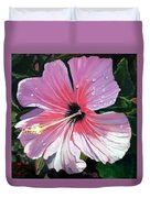 Pink Hibiscus With Raindrops Duvet Cover