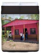 Pink House In Costa Rica Duvet Cover