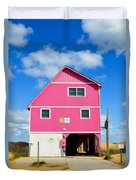 Pink House On The Beach 3 Duvet Cover