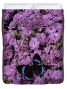 Pink Kalanchoe And Black Butterfly Duvet Cover