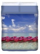 Pink Kayaks Lined Up Duvet Cover