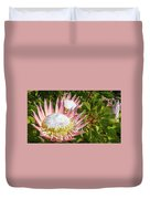 Pink King Protea Flowers Duvet Cover