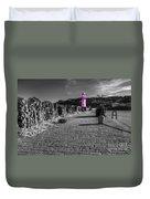 Pink Lighthouse Of St Ives Duvet Cover