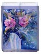 Pink Lilies In Vase Duvet Cover