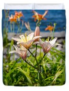 Pink Lily By The Lake Duvet Cover