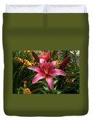 Pink Lily Lush Garden Duvet Cover