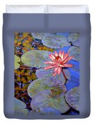 Pink Lily With Silver Pads Duvet Cover