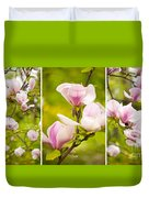 Pink Magnolia Triptych Duvet Cover