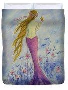 Pink Mermaid In Her Garden Duvet Cover
