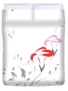 Pink Morning Glory Flowers Sumi-e Illustration Artistic Design O Duvet Cover