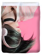 Pink Music Time Duvet Cover
