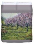 Pink Orchards Garden Duvet Cover