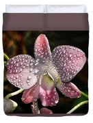 Pink Orchid And Dewdrops 013 Duvet Cover