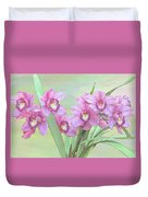 Pink Orchid Photo Sketch Duvet Cover