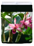 Pink Orchids - Exotic Tropical Glow Duvet Cover