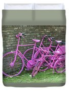 Pink Painted Bikes And Old Wall Duvet Cover