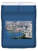 Pink Palace Waikiki Honolulu Duvet Cover