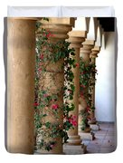 Pink Peacock Colored Bougainvillea Blossoms Climbing Pillars Photograph By Colleen Duvet Cover