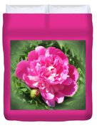 Pink Peony On Green Duvet Cover