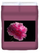 Pink Peony On A Black Background Duvet Cover