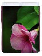 Pink Petals In The Rain Duvet Cover
