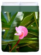Pink Plumeria In Bloom Duvet Cover