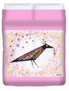 Pink Raven With Heart Duvet Cover