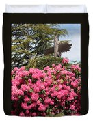 Pink Rhododendrons With Totem Pole Duvet Cover