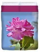 Pink Rose Against Blue Sky I Duvet Cover