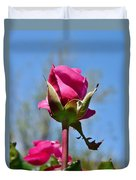 Pink Rose Against Blue Sky Iv Duvet Cover