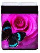 Pink Rose And Black Blue Butterfly Duvet Cover