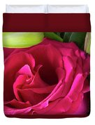 Pink Rose And Bud Close-up Duvet Cover